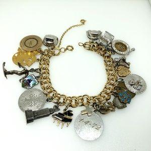 Vintage Gold Filled & Sterling Charm Bracelet